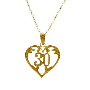 14k Gold Heart Charm, number 30 inside Necklace